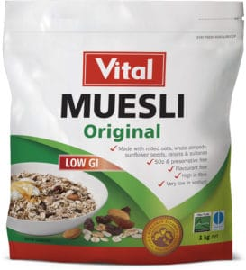 vital original muesli low GI 1kg, low GI, vital product, vital brand, food product, muesli, green label, white doy pack, red vital logo, product information on doy pack, white packet,