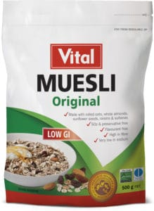 vital original muesli, muesli, low GI, green label, red vital logo, snack, white package