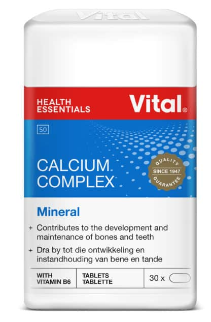 vital calcium complex, calcium, pack shot, red vital logo, white container, blue label, product information on label, vital seal