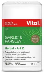 herbal, vital health foods, blood circulation, immune health, flu season, capsules, garlic, parsley, halaal