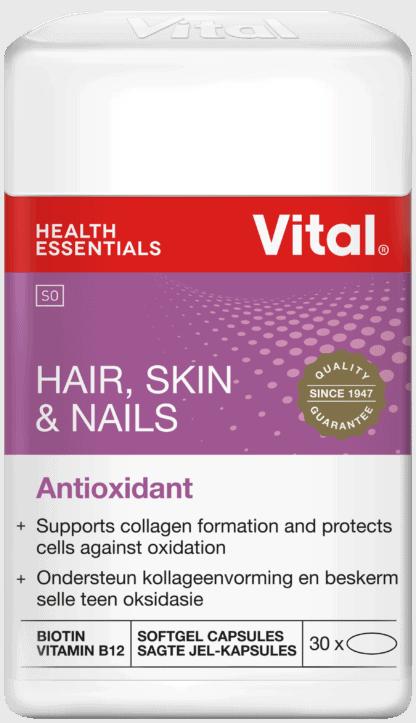 vital hair skin and nails, logo, pack shot, branded label