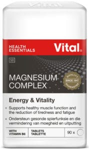vital magnesium complex, vital product, black label, red vital logo, product information, white container