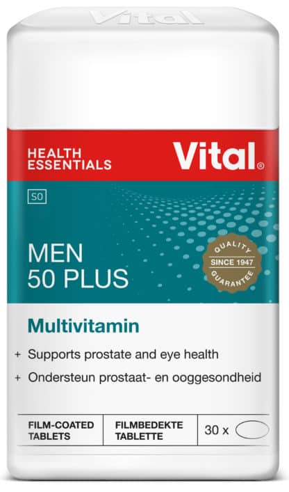 Vital Men 50 Plus, Vital product, vital red logo, red strip, blue label, product information on label, multivitamin product