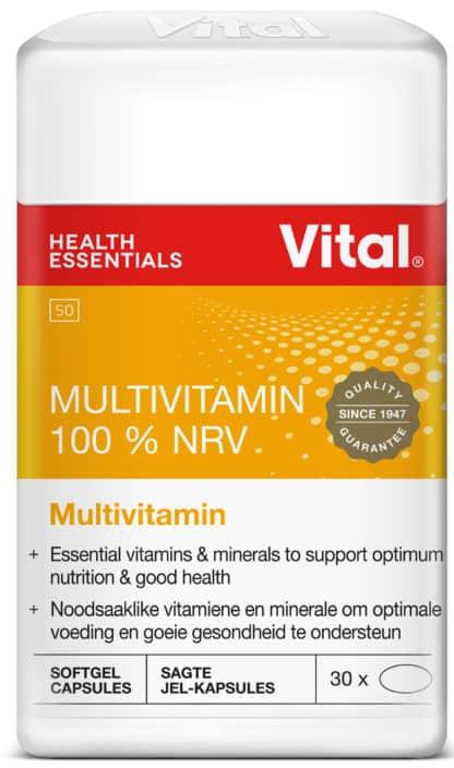 vital multivitamin 100% NRV, multivitamin, pack shot, orange label, red logo, vita red logo, vital gold seal,