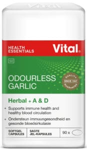 vital odourless garlic, herbal range, green label, red vital logo, product information on label, for adults, halaal certified, white container, 18 years and older, herbal range, immune product,