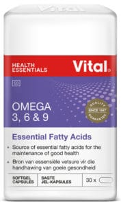 vital omega 3 6 & 8, pack shot, vital product, essential fatty acids, purple label, vital logo, red vital logo