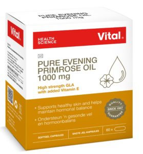 Vital Pure Evening Primrose Oil 1000 mg, vital brand, pack shot, orange colour, product information, vital logo, red ribbon