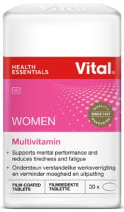 vital women, pink label, vital product, red strip, red logo,