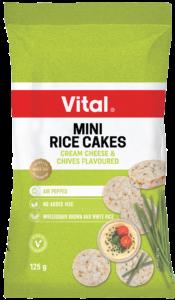 vital mini rice cakes 125g green packet