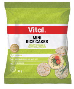 vital mini rice cakes cream cheese chives 30g green packet