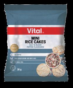 vital mini rice cakes salt black pepper flavour 30g blue packet