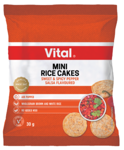 vital mini rice cakes spicy salsa flavour 30g packet